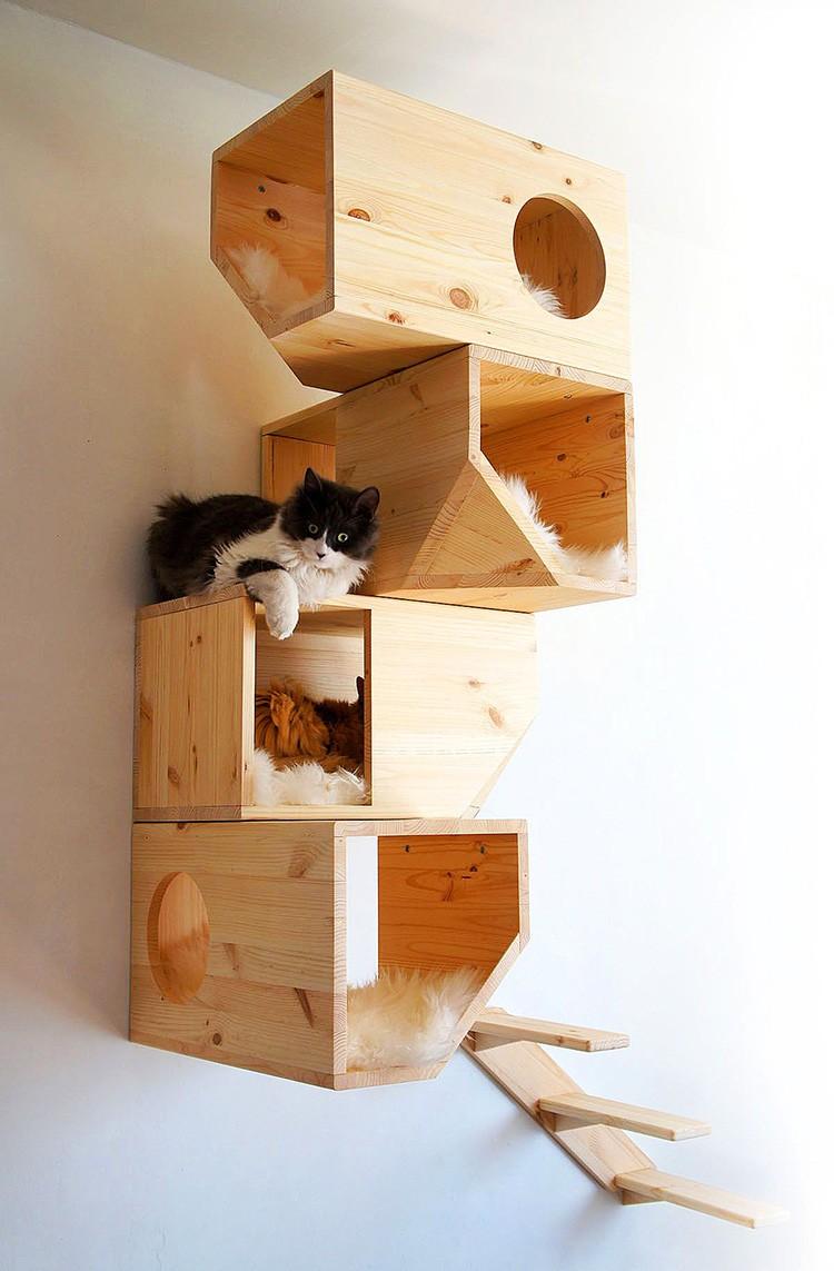 Из четырёх сколоченных ящиков с отверстиями для лаза создают целые многоэтажки, в которых питомец будет с удовольствием спать, лазить и играть.