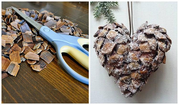 Нарезав лепестки шишки, создают красивое украшение. Лепестки наклеивают на заготовку клеем.