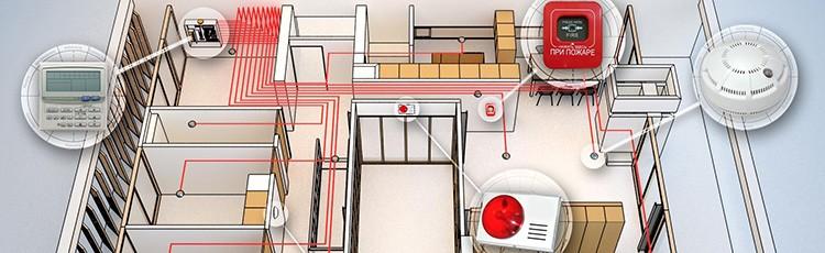 Все точки оповещения и пожаротушения размещаются в строгом соответствии с проектом