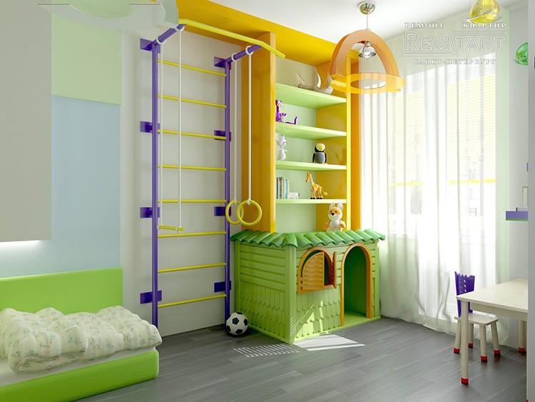 В детской комнате должно быть место для игр и занятий спортом