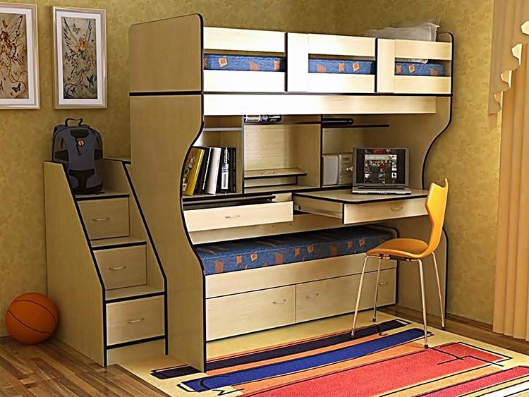 Кровать может выкатываться из-под рабочей зоны