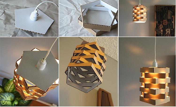 Картон подойдёт для создания геометрического абажура.