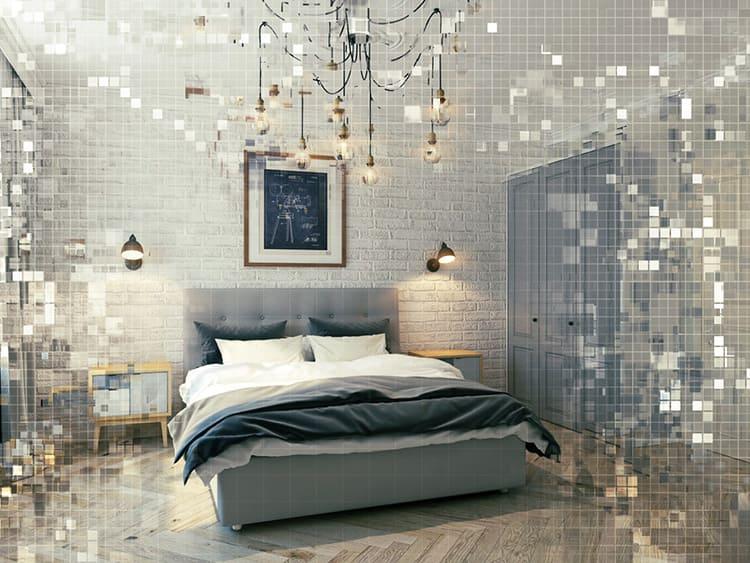 Спальня в скандинавском стиле с элементами лофт