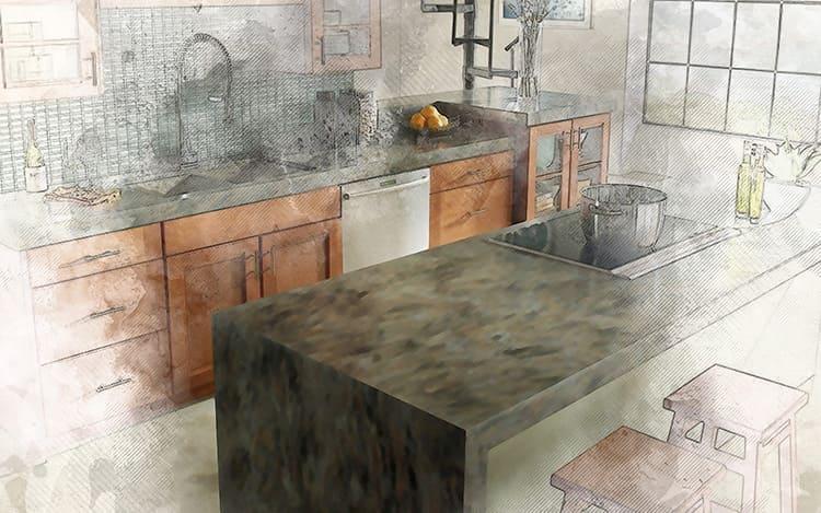 Столешница является важным элементом дизайна кухонного гарнитура