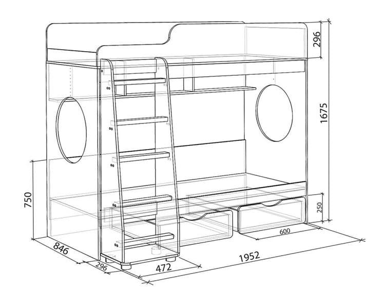 Размеры классической двухъярусной кровати