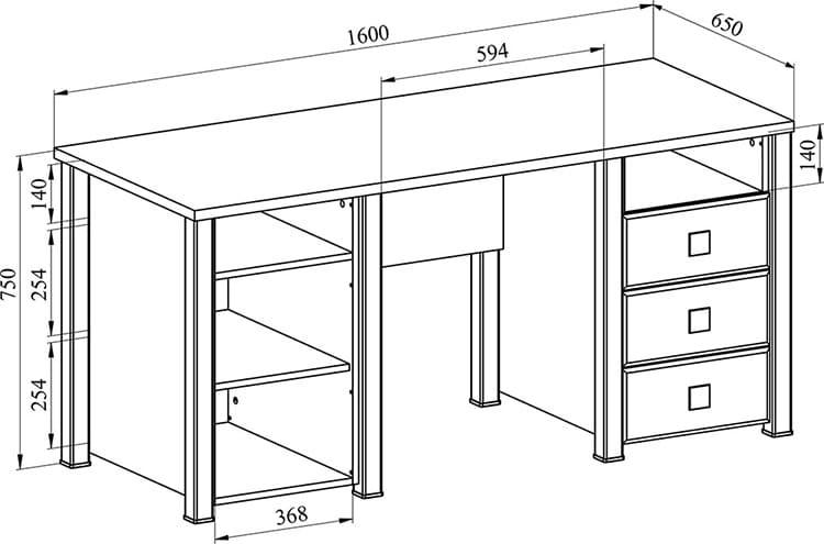 Размеры классического письменного стола с двумя тумбами
