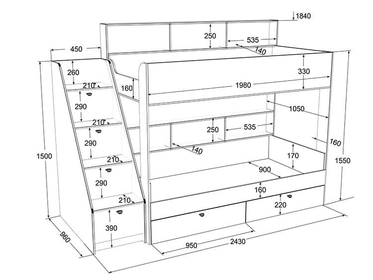 Чертёж кровати с ящиками-ступеньками и размерами