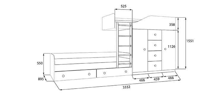 Размеры конструкции со спальными местами, смещенными относительно друг друга по одной оси