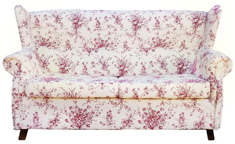 Любители мягкой мебели отдают предпочтение подобным моделям. Цветочный орнамент может быть крупным или мелким, но в любом случае расцветка будет неброской.