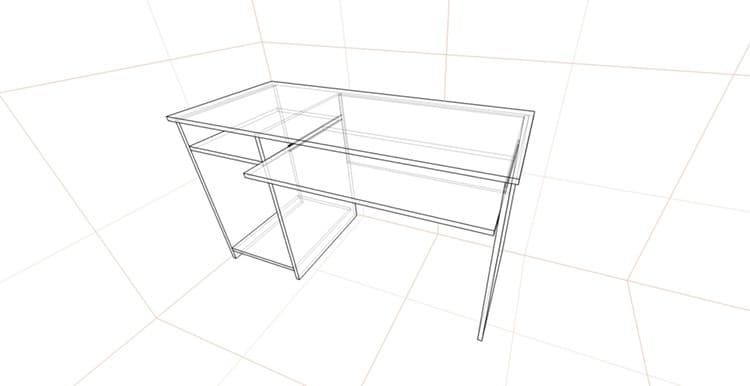 Эскиз стола, по которому видно, как нужно соединять детали