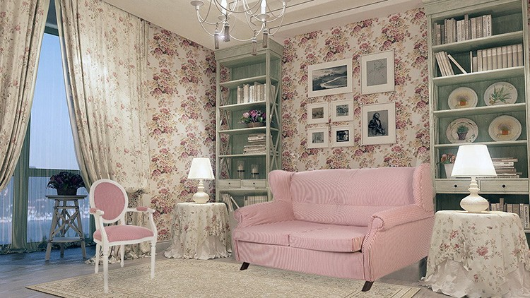 Однотонные диваны тоже вписываются в прованс. Главное – соответствие цветам стиля.