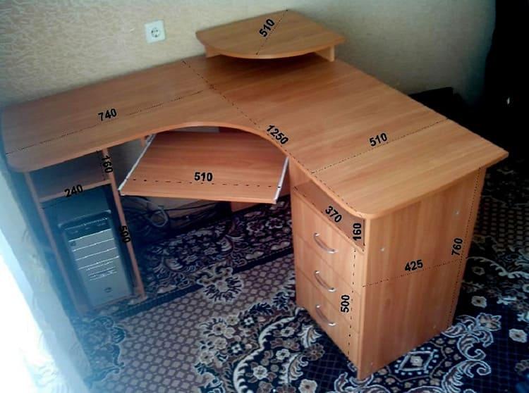 Основные размеры углового компьютерного стола из ЛДСП