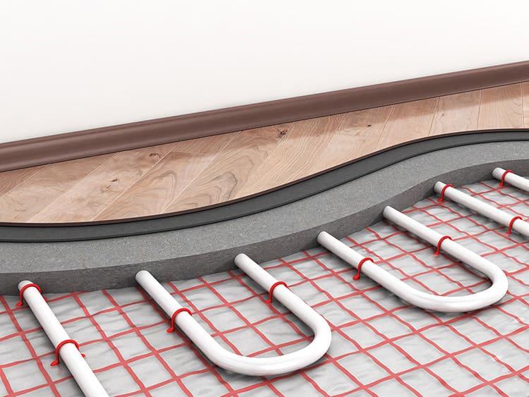 Структура теплого пола с бетонной стяжкой