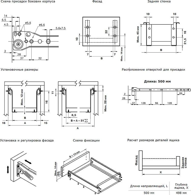 Схема сборки ящиков и установки направляющих