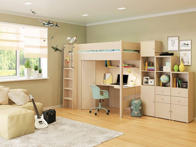 Если комната небольшая, можно поставить в ней кровать-чердак, в которой спальное место расположено над рабочим столом. Но в этом случае у вас не получится поставить стол к окну, имейте это в виду