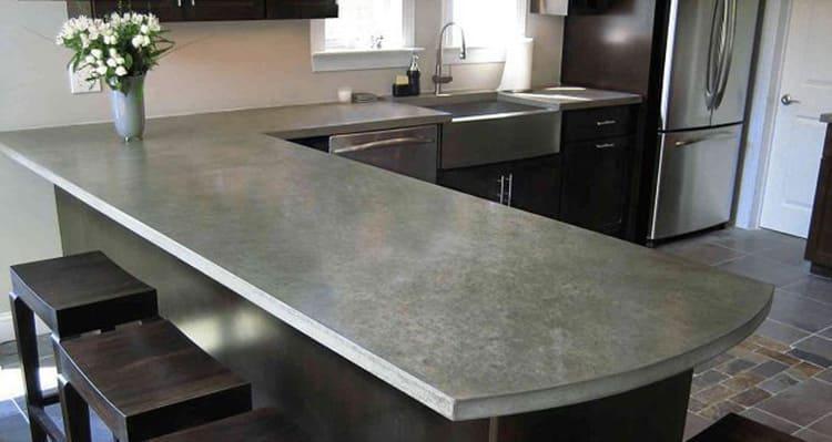 Кухонная столешница из полированного бетона