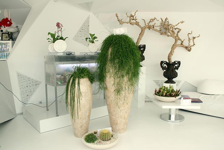 Напольные вазы необычной формы как будто переполнены зелёным содержимым
