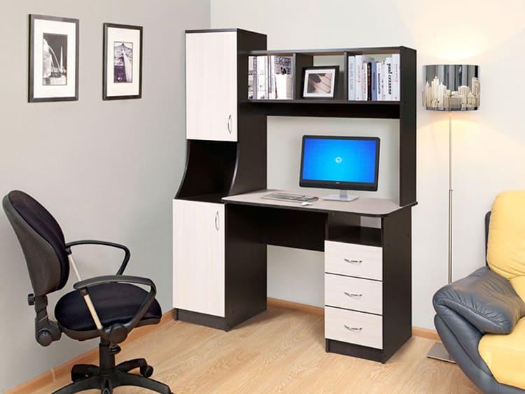 Классический прямолинейный стол с надстройкой и пеналом