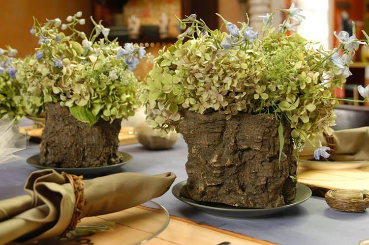Цветочные горшки из натурального дерева – истинный экостиль