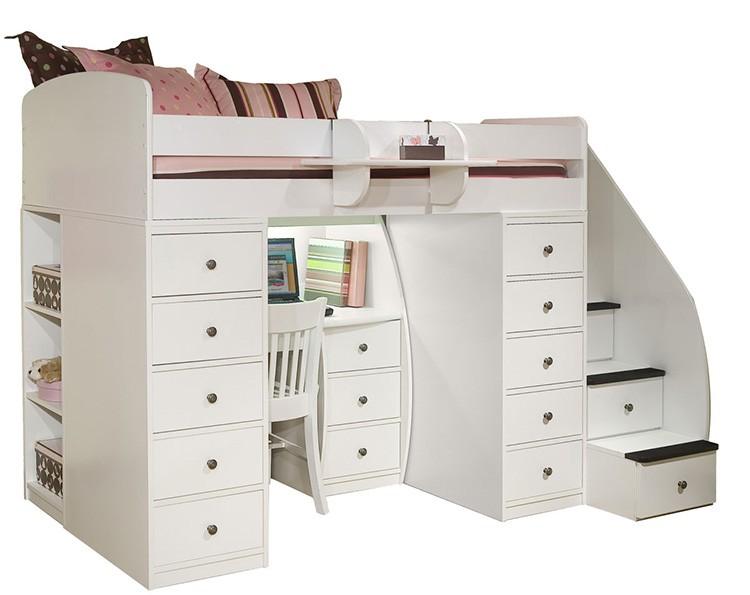 Кровать-чердак с комодом и рабочим местом