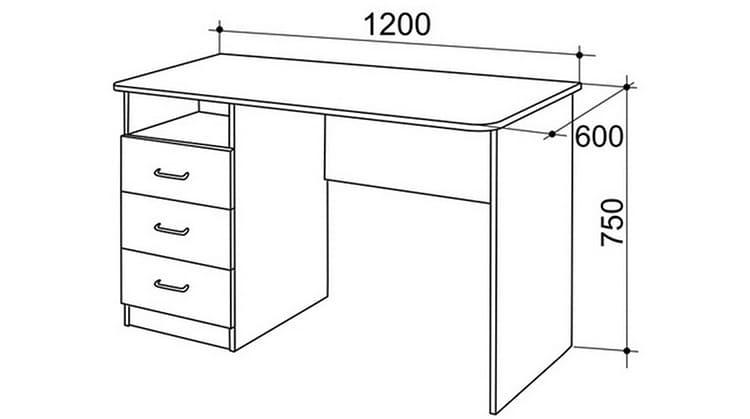 Стандартные размеры классического компьютерного стола