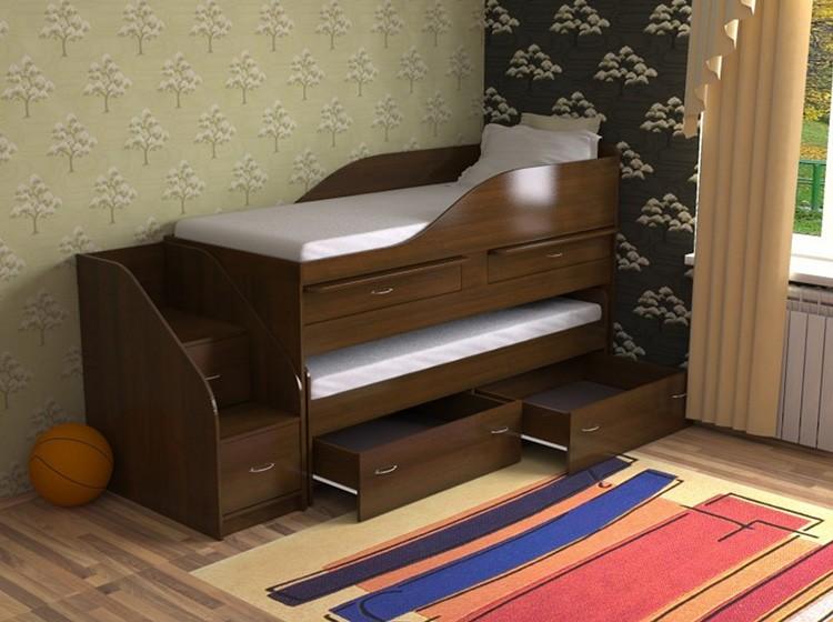 Двухъярусная кровать-комод