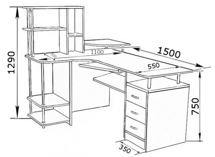 Стандарты углового стола с надстройками