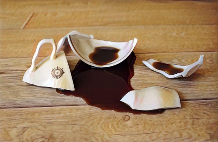 Можно что-то уронить, пролить, поцарапать поверхность каблуком или ножкой стула