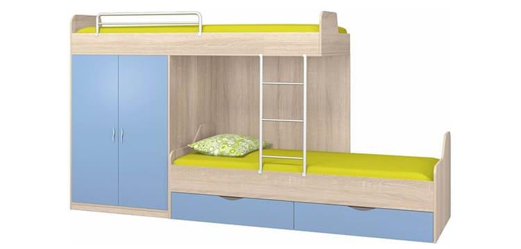 Спальные места смещены по оси относительно друг друга