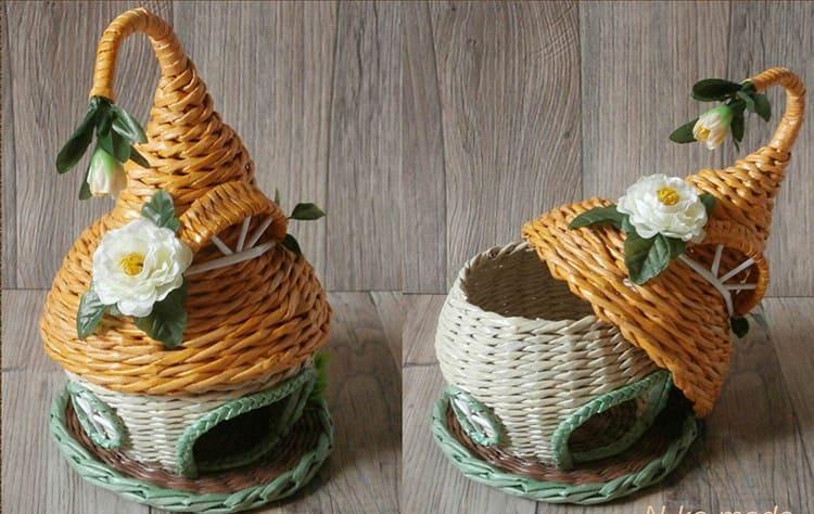 Плетёный чайный домик органично впишется в интерьер кухни в любимом стиле – прованс или кантри