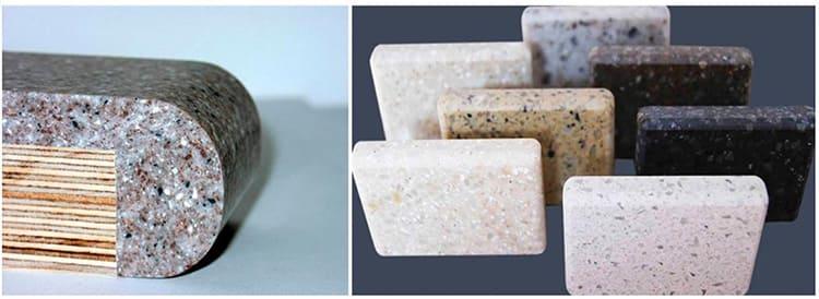 Столешница из искусственного камня: разрез, образцы текстуры