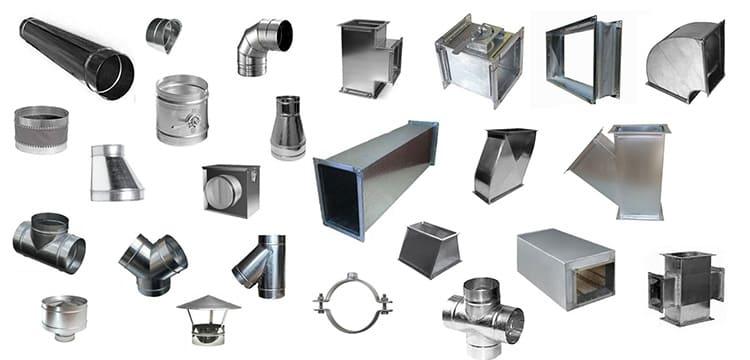 Некоторые типы фасонных изделий воздуховодов