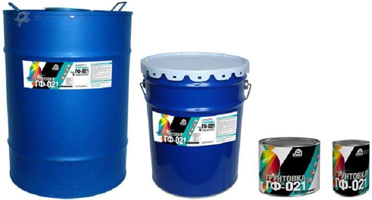 Разные производители фасуют ГФ-021 в различные ёмкости
