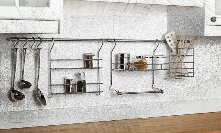 Рейлинговые системы делают кухню более функциональной