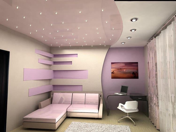Цвет двухуровневого натяжного потолка зависит от общего оформления комнаты