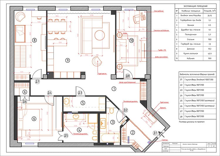 Схема расстановки мебели