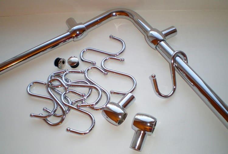 Прямые рейлинги, угловой элемент, держатели, заглушки и крючки