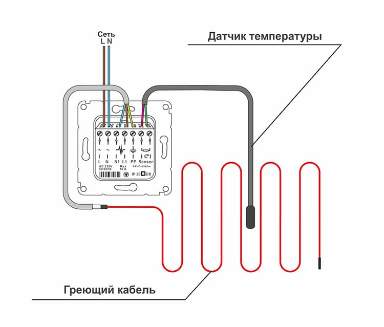 Схема подключения термостата к контуру из двужильного провода.