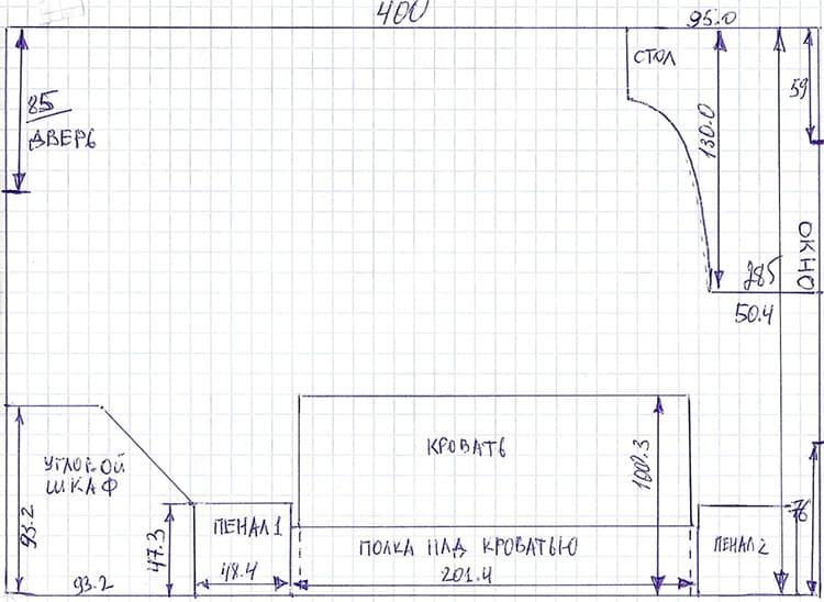 Простой обмерочный план на тетрадном листе