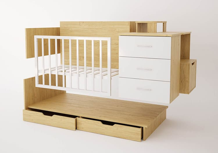 У детской кровати-трансформера есть возможности для изменения конфигурации