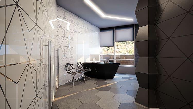Возможен вариант стеновых панелей с геометрическим принтом