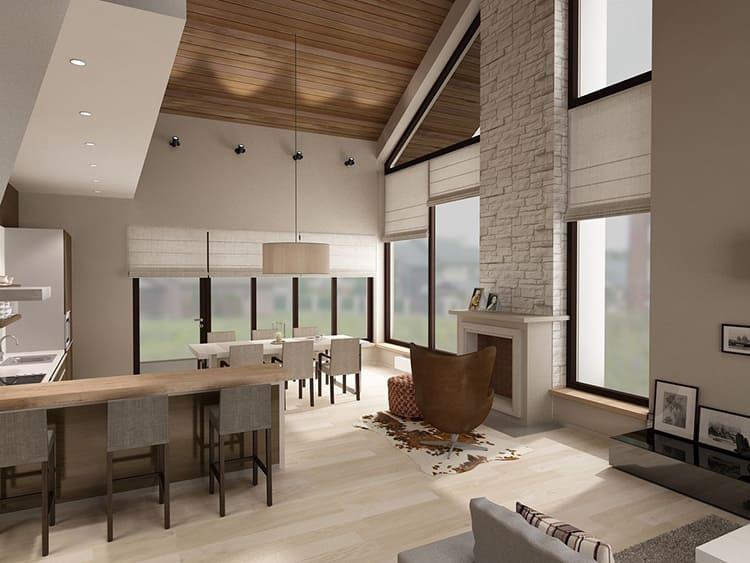 В минималистическом дизайне загородного жилища отсутствуют плавные изгибы, и не приветствуется наличие множества проходных помещений