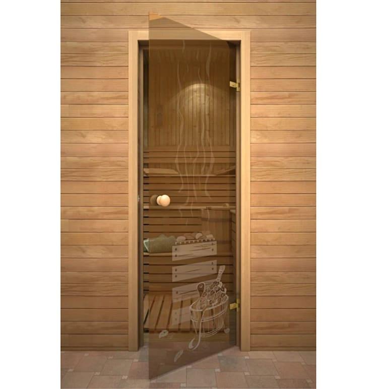 Стеклянная дверь в домашнюю мини-сауну
