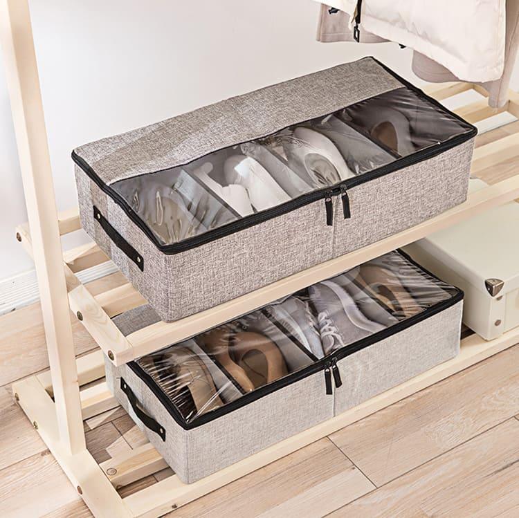 В коробке имеются отделения для хранения нескольких пар обуви.