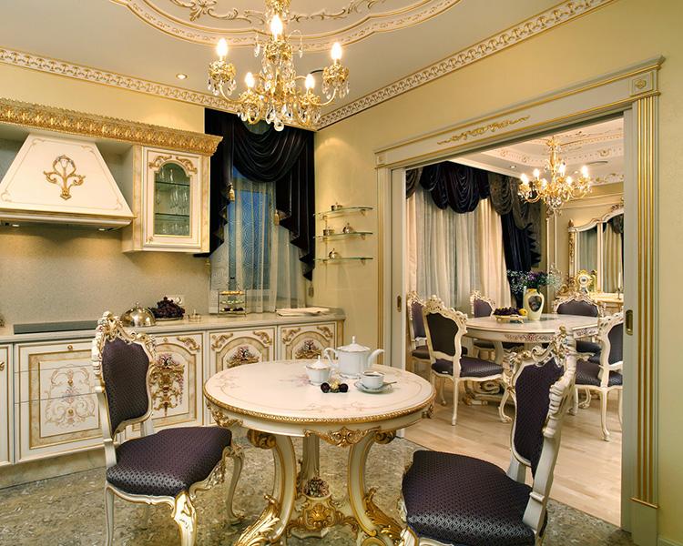 Кухня-гостиная в стиле барокко