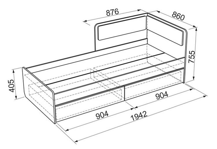 Размеры кровати и ящиков зависят от производителя и модели