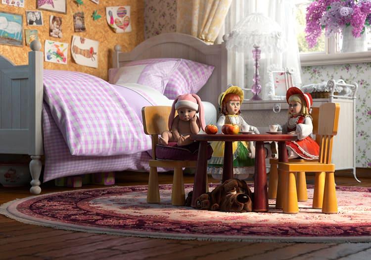 Для девочки в комнате уместно поставить столик и стульчики для игр с куклами, кукольный домик и прочие подходящие аксессуары