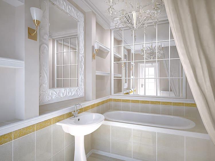 Красивая ванная комната с зеркальной плиткой