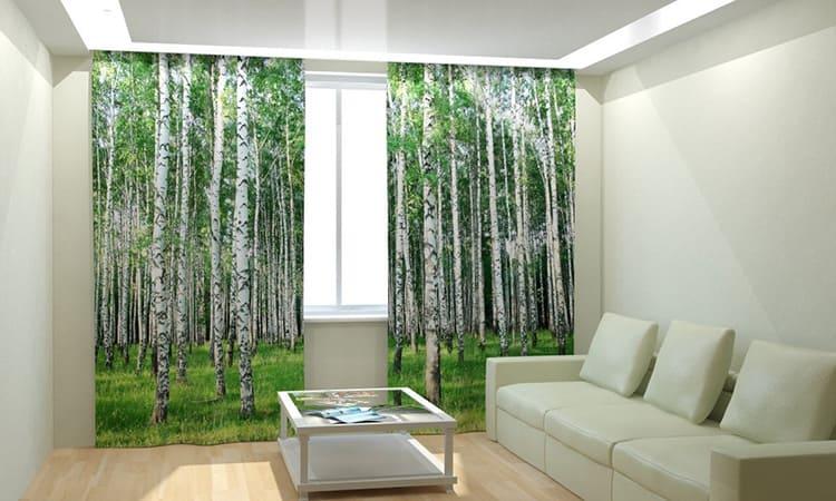 Гардины из перкали на большое окно с фотопечатью будут стоить примерно 3-3,5 тысячи рублей