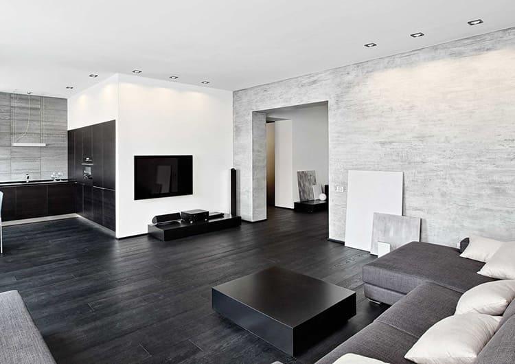 Пол гостиной из чёрной ламинированной доски